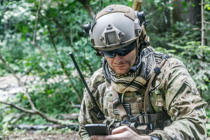 Soldier using communication technology